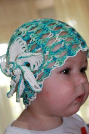 Детская шапочка-шляпка, панамка ажурная.