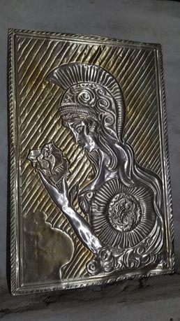 Картина чеканка, девушка рыцарь