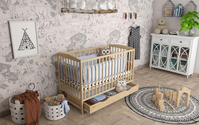 Drewniane łóżeczko/tapczan z szufladą OLA sosnowe 120x60cm