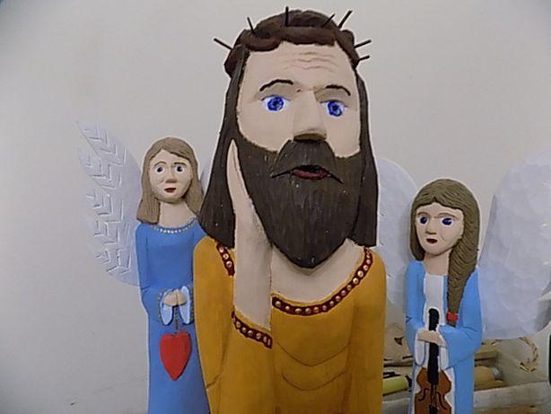 Jezus Frasobliwy, figurka ręcznie rzeźbiona