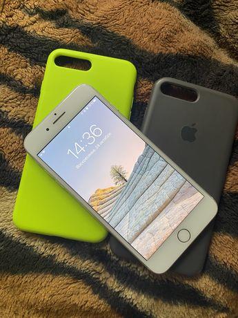 Iphone 7 plus + 32 silver r sim + 2 чехла