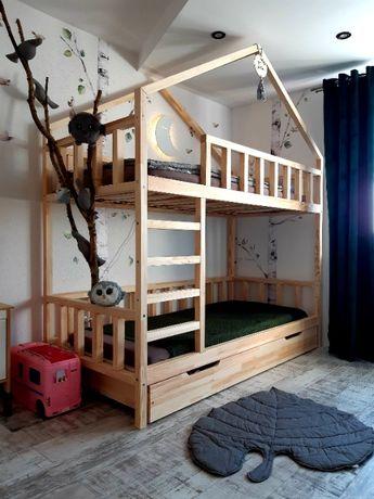 Łóżko piętrowe domek ,,NIKOLA,, 100% drewno szuflady stelaże OD REKI