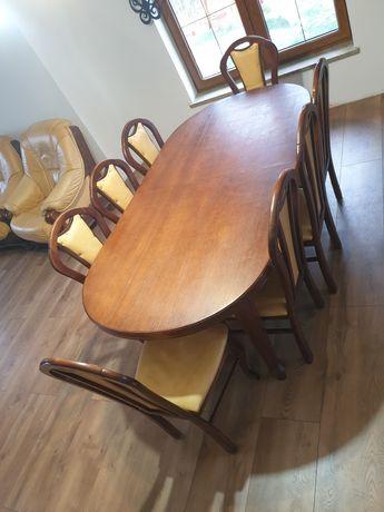 Stół rozkładany + 8 krzeseł krzesło krzesła skóra taboret