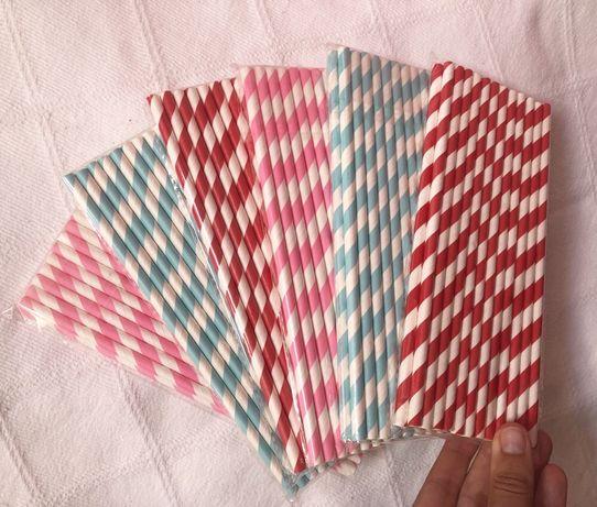 Conjunto de 150 palhinhas de Papel (rosa, azul e vermelho)