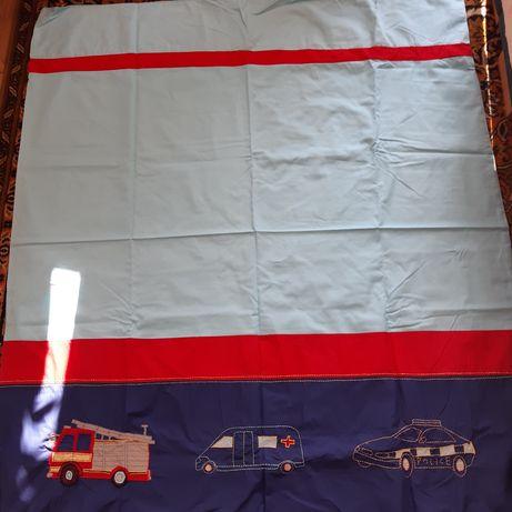 Zasłony dla dzieci - wymiary 153 x 130 samochód straż policja