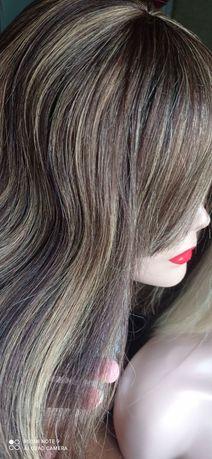 Натуральный 100%парик русый темный мелирование каре детские славянские