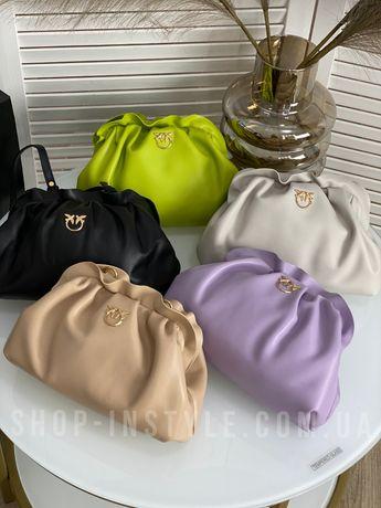 Стильная кожаная женская сумка Pinko. В комплекте 3 ремня. Кожа