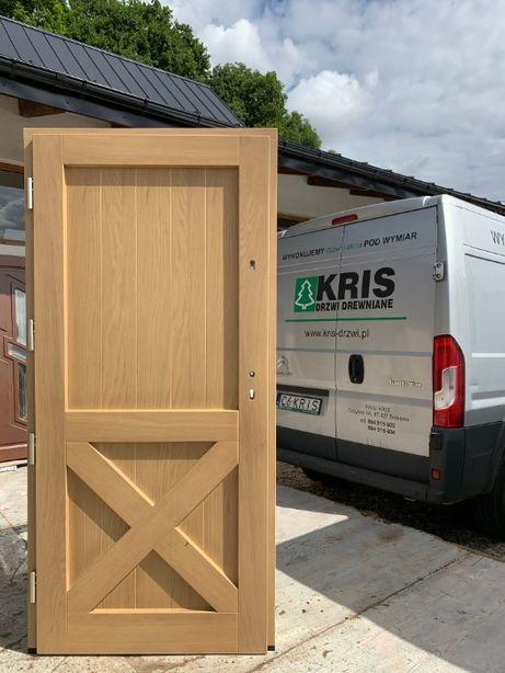 Drzwi zewnętrzne drewniane dębowe ocieplane CZYSTE POWIETRZE