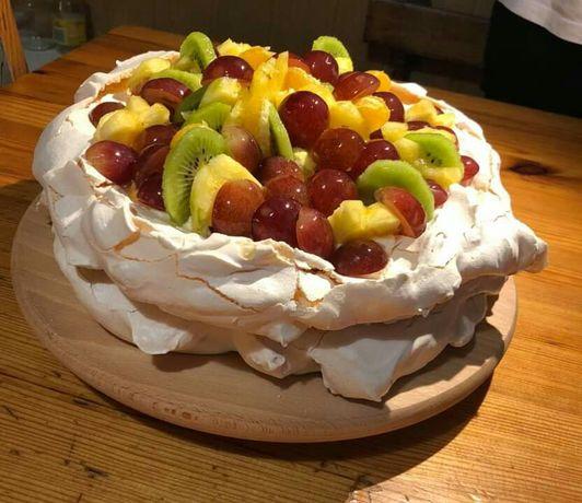 Ciasto Beza domowa owocowa