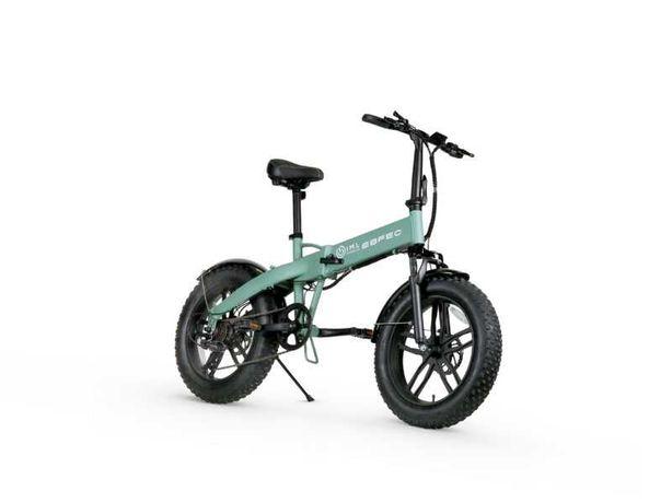 Rower elektryczny Fatboy iamelectric zielony biały czarny grube koła