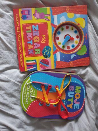 Książki dla dzieci uczę się zegara i wiązanie butów