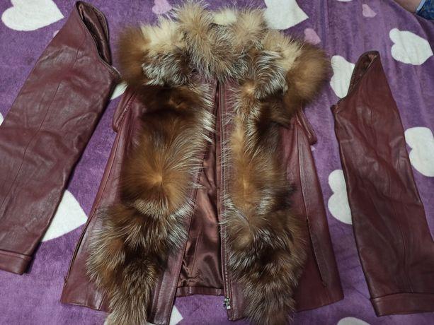 Кожаная женская жилетка-куртка