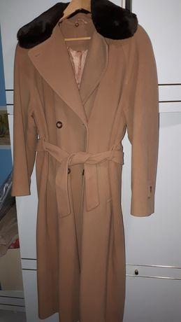 Wełniany elegancki dwurzędowy płaszcz zimowy camel/ ciemny beż XXL