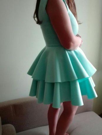 Sukienka S/M na wesele lub inne uroczystości miętowa piankowa