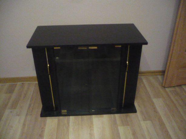 Solidna szafka pod telewizor czarna boki otwierane 100x83x42