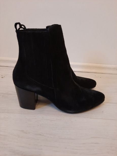 ankle boot damskie czarne buty bullboxer 39 botki obcas 7cm
