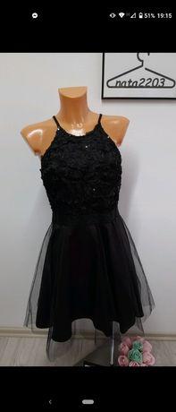 Czarna błyszcząca tiul sukienka ramiączka S/36