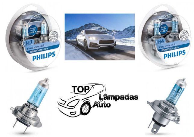 NOVAS Lâmpadas Philips White Vision Ultra 4200K +60% H4 e H7