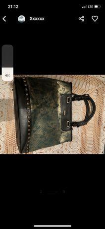 Torba torebka firmy WITTCHEN-NOWA butelkowa zieleń ze zlotym