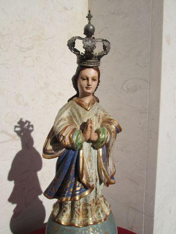 Imagem/Figura Nossa Senhora em madeira - Séc. XVIII/XIX