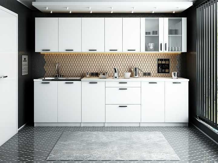 REMO KUCHNIA / ZESTAW MEBLI kuchennych / beton, biel, dąb wotan