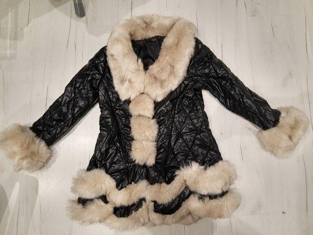 G.Z.SHUNFA Śliczna, czarna kurtka pikowana z delikatnym futerkiem
