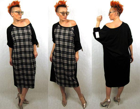 Włoska dresowa sukienka oversize roz uniwersalny L XL XXL
