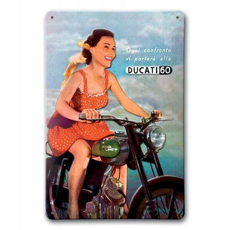 Ducati 60 motocykl szyld reklama metalowa blacha tłoczona loft vintage