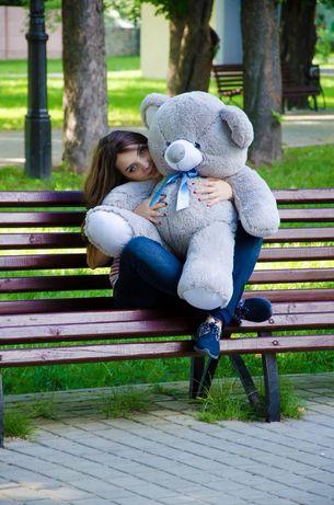 Плюшевий ведмідь сірого кольору сірий ведмедик на подарунок дівчині