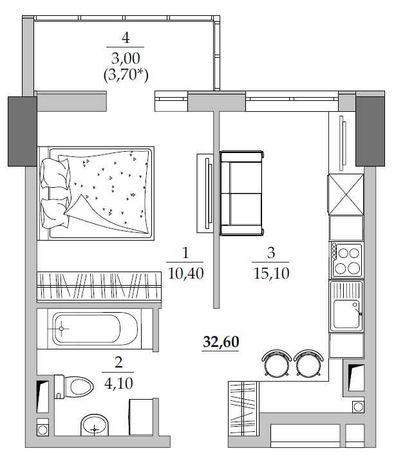 ЖК Таировские Сады! 1-комнатная квартира. 32 м2. ВЫГОДНАЯ ЦЕНА!