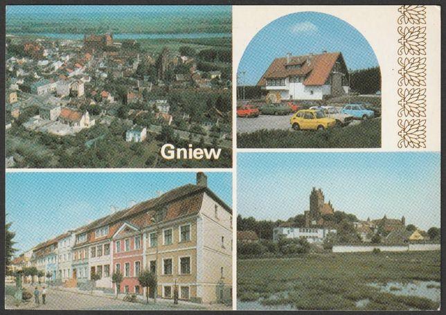 pocztówka - Gniew 1986 - mozaika , zajazd Gniewko , rynek