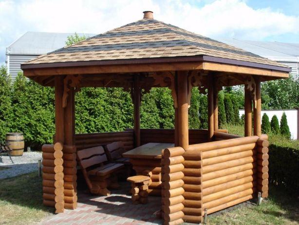 Altanka drewniana, altana, altanka ogrodowa, altanka z bali okrągłych