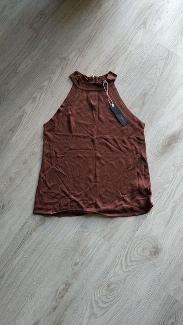 Bluzka koszulka Esprit brązowa bez rękawów s