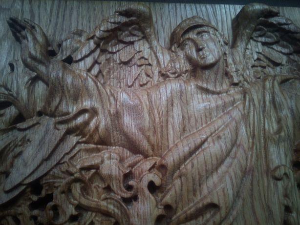 Anioł Płaskorzeźba Obraz Dąb Prezent Pamiątka Drzewo na Zdjęcia Unikat