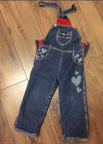 Утепленный джинсовый комбинезон на флисе