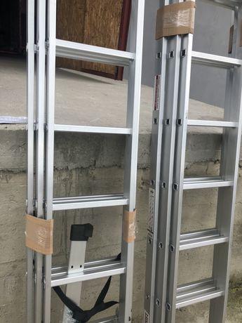 Лестница алюмінієва 3-х секційна драбина HIGHER Стремянка РОЗМІРИ різн