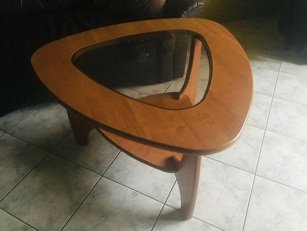 Jak nowy stolik stół kawowy stoliczek drewno szkoło salon trójkątny