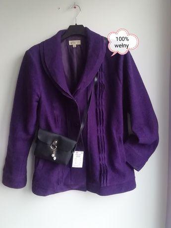 Fioletowa wiosenna kurtka. 100% wełny. Woolmark.