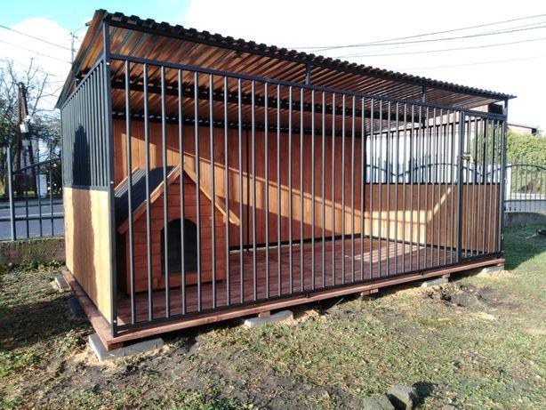 Kojec dla psa z drewnianymi ścianami 4x2 m, SZYBKA REALIZACJA