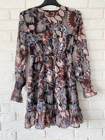 Zwiewna szyfonowa sukienka rozm S 36 nowa