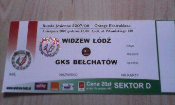 bilet Widzew Łódź-GKS Bełchatów 5 sierpnia 2007 rok