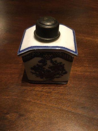 Frasco perfume porcelana companhia índias tampa Prata Contrastada 8cm