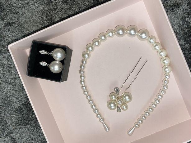 Весільний набір для нареченої з перлин сережки, шпилька та обруч