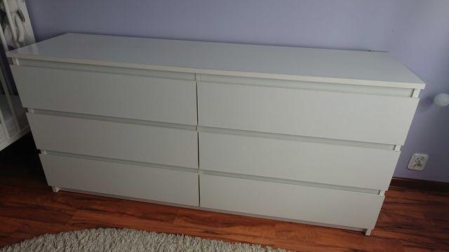 Biała duża komoda 6 szuflad