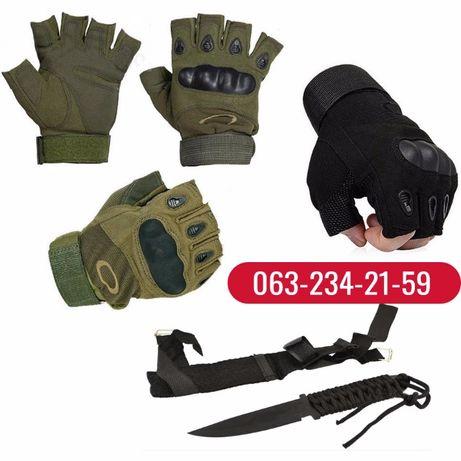 Тактические перчатки с пальцами и без (Олива, Черный) + Подарок Нож