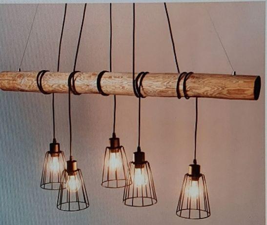 Lampa wisząca loftowa industrialna lampy żyrandol nad stół drewniana