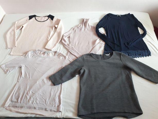 H&M sweterek pudrowy róż koronka bluzka pikowana szara