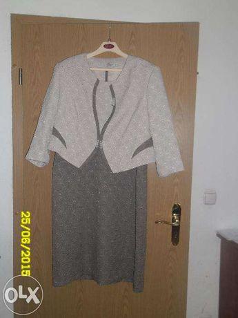 Sukienka w kolorach beż brąz z żakietem rozmiar 52