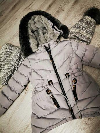 Zestaw.. piękna, ciepła kurtka dziewczęca+czapka z kominem 6 lat