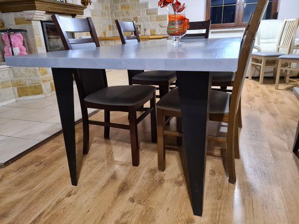 Stół dębowy szary loft stolik rustykalny drewno meble